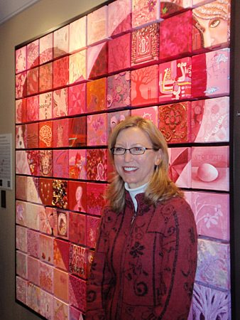 Leigh joined community artists to make a mosaic to sell to raise money for breast cancer research.